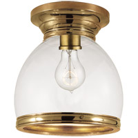 Visual Comfort E.F. Chapman Edwardian 1 Light Flush Mount in Antique Burnished Brass with Clear Glass Shade CHC4132AB-CG