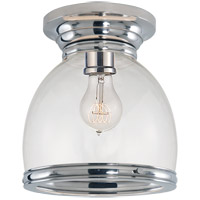 Visual Comfort E.F. Chapman Edwardian 1 Light Flush Mount in Polished Nickel with Clear Glass Shade CHC4132PN-CG