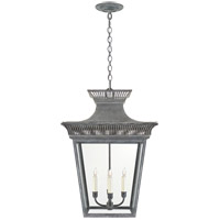 E. F. Chapman Elsinore 4 Light 18 inch Weathered Zinc Hanging Lantern Ceiling Light, Large