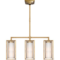 Visual Comfort E.F. Chapman Easterly 3 Light Linear Pendant in Antique-Burnished Brass CHC5057AB-WG