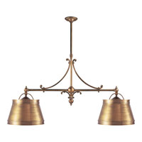 E.F. Chapman Sloane 4 Light 54 inch Antique-Burnished Brass Linear Pendant Ceiling Light in Antique Burnished Brass, Antique Brass