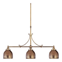 Visual Comfort E.F. Chapman Sloane 3 Light Linear Pendant in Antique-Burnished Brass CHC5105AB-AB