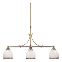 Visual Comfort E.F. Chapman Sloane 3 Light Linear Pendant in Antique-Burnished Brass CHC5105AB-WG