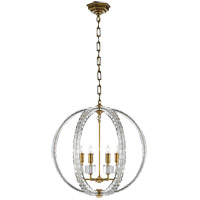 Visual Comfort E.F. Chapman Crystal 6 Light Pendant in Antique-Burnished Brass CHC5130AB