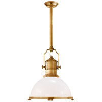 Visual Comfort CHC5136AB-WG E. F. Chapman Country Industrial 1 Light 20 inch Antique-Burnished Brass Pendant Ceiling Light in Antique Burnished Brass, White Glass