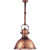 Visual Comfort Chart House Country Industrial Pendant in Antique Copper with Large Antique Copper Shade CHC5136AC-AC
