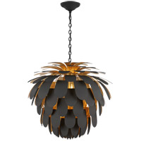 Visual Comfort CHC5158MBK/G E. F. Chapman Cynara 6 Light 37 inch Matte Black and Gild Chandelier Ceiling Light, Grande