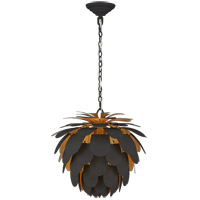 Visual Comfort CHC5163MBK/G E. F. Chapman Cynara 1 Light 17 inch Matte Black and Gild Chandelier Ceiling Light, Small