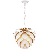 Visual Comfort CHC5163WHT/G E. F. Chapman Cynara 1 Light 17 inch White with Gild Chandelier Ceiling Light, Small