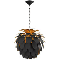 Visual Comfort CHC5165MBK/G E. F. Chapman Cynara 1 Light 23 inch Matte Black Chandelier Ceiling Light, Medium