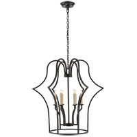E.F. Chapman Hollywood Regency 6 Light 28 inch Aged Iron Foyer Lantern Ceiling Light, E.F. Chapman, Medium, Frame