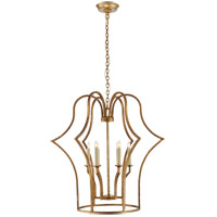 E.F. Chapman Hollywood Regency 6 Light 28 inch Gilded Iron Foyer Lantern Ceiling Light, E.F. Chapman, Medium, Frame