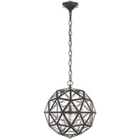 Visual Comfort E.F. Chapman Zeno 18-inch Pendant in Aged Iron, Medium, 80-Facet Hedron, Lantern, Antique Mirror Glass CHC5203AI-AM