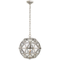 Visual Comfort E.F. Chapman Zeno 18-inch Pendant in Burnished Silver Leaf, Medium, 80-Facet Hedron, Lantern, Antique Mirror Glass CHC5203BSL-AM