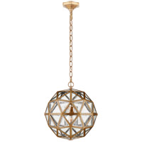 Visual Comfort E.F. Chapman Zeno 18-inch Pendant in Gilded Iron, Medium, 80-Facet Hedron, Lantern, Antique Mirror Glass CHC5203GI-AM