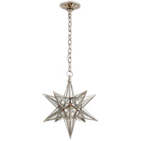 Visual Comfort E.F. Chapman Moravian Star 1 Light Pendant in Burnished Silver Leaf with Antique Mirror Shade CHC5211BSL-AM
