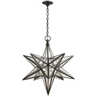 Visual Comfort E.F. Chapman Moravian Star 1 Light Pendant in Aged Iron with Antique Mirror Shade CHC5212AI-AM
