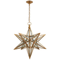 Visual Comfort E.F. Chapman Moravian Star 1 Light Pendant in Gilded Iron with Antique Mirror Shade CHC5212GI-AM