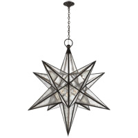 Visual Comfort E.F. Chapman Moravian Star 3 Light Pendant in Aged Iron with Antique Mirror Shade CHC5213AI-AM