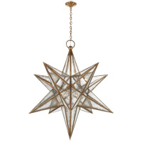 Visual Comfort E.F. Chapman Moravian Star 3 Light Pendant in Gilded Iron with Antique Mirror Shade CHC5213GI-AM