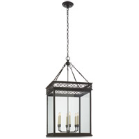 E. F. Chapman Newcastel 6 Light 18 inch Aged Iron Foyer Lantern Ceiling Light, E.F. Chapman, Medium, Fret, Clear Glass