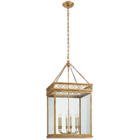 Visual Comfort CHC5222GI-CG E. F. Chapman Newcastel 6 Light 18 inch Gilded Iron Foyer Lantern Ceiling Light, E.F. Chapman, Medium, Fret, Clear Glass
