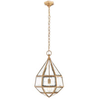 Visual Comfort E.F. Chapman Girard 16-inch Pendant in Gilded Iron, Medium, Tapered, Hex, Lantern, Antique Mirror Glass CHC5231GI-AM