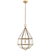 E.F. Chapman Girard 20 inch Gilded Iron Pendant Ceiling Light, E.F. Chapman, Large, Tapered, Hex, Lantern, Antique Mirror Glass
