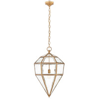 E.F. Chapman Girard 20 inch Gilded Iron Pendant Ceiling Light, E.F. Chapman, Large, Inverse, Tapered, Hex, Lantern, Antique Mirror Glass