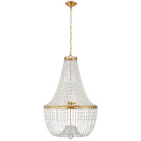 E.F. Chapman Linfort 8 Light 24 inch Antique Burnished Brass Pendant Ceiling Light, E.F. Chapman, Medium, Basket Form Chandelier, Clear Beaded Glass