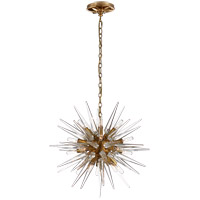 Visual Comfort E.F. Chapman Quincy 20 Light 20-inch Pendant in Antique Burnished Brass, Small, Sputnik, Clear Acrylic Shade CHC5286AB-CA