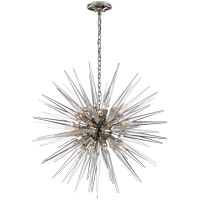 E.F. Chapman Quincy 20 Light 30 inch Polished Nickel Pendant Ceiling Light, E.F. Chapman, Medium, Sputnik, Clear Acrylic Shade
