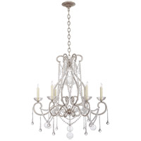 Visual Comfort CHC5404BSL-CG E. F. Chapman Gloster 6 Light 32 inch Burnished Silver Leaf Chandelier Ceiling Light, E.F. Chapman, Large, Tear Drop, Clear Beaded Glass