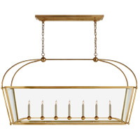 E. F. Chapman Plantation 7 Light 54 inch Antique-Burnished Brass Linear Pendant Ceiling Light, Large