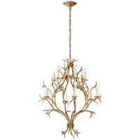 Visual Comfort E.F. Chapman Branch 12 Light Chandelier in Gilded Iron CHC5470GI