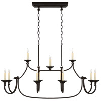 E. F. Chapman Flemish 11 Light 50 inch Aged Iron Linear Pendant Ceiling Light, Large