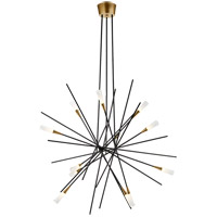 Visual Comfort CHC5600BLK Chapman & Myers Stellar LED 40 inch Matte Black and Brass Chandelier Ceiling Light, Large
