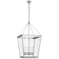 Visual Comfort CHC5612PN-CG E. F. Chapman Launceton 4 Light 24 inch Polished Nickel Foyer Lantern Ceiling Light Large Square