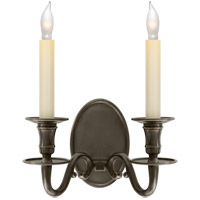 Visual Comfort E.F. Chapman Grosvenor 2 Light Decorative Wall Light in Bronze with Wax CHD1139BZ