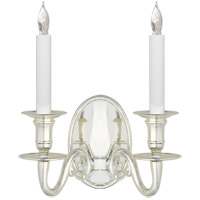 Visual Comfort E.F. Chapman Grosvenor 2 Light Decorative Wall Light in Polished Silver CHD1139PS