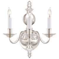 E. F. Chapman George II 3 Light 12 inch Crystal with Polished Silver Decorative Wall Light