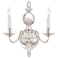 E. F. Chapman George II 2 Light 12 inch Crystal with Polished Silver Decorative Wall Light