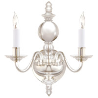 Visual Comfort CHD1155CG/PN E. F. Chapman George II 2 Light 12 inch Crystal with Polished Silver Decorative Wall Light