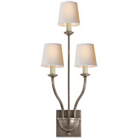 Visual Comfort E.F. Chapman Normandy 3 Light Decorative Wall Light in Antique Nickel CHD1169AN