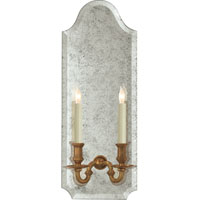 Visual Comfort E.F. Chapman Kensington 2 Light Decorative Wall Light in Antique Mirror with Antique Brass CHD1173AM/AB