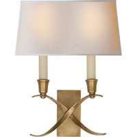 Visual Comfort E.F. Chapman Cross Bouillotte 2 Light Decorative Wall Light in Antique-Burnished Brass CHD1190AB-NP