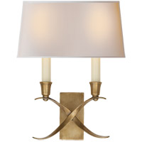 E. F. Chapman Cross Bouillotte 2 Light 10 inch Antique-Burnished Brass Decorative Wall Light in Antique Burnished Brass