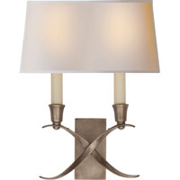 Visual Comfort E.F. Chapman Cross Bouillotte 2 Light Decorative Wall Light in Antique Nickel CHD1190AN-NP