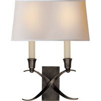 Visual Comfort E.F. Chapman Cross Bouillotte 2 Light Decorative Wall Light in Bronze with Wax CHD1190BZ-NP