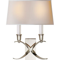 Visual Comfort E.F. Chapman Cross Bouillotte 2 Light Decorative Wall Light in Polished Nickel CHD1190PN-NP